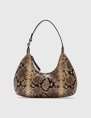 BY FAR Baby Amber Mocha Snake Print Leather Bag