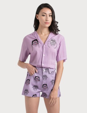 Kirin Masks Embroidery Bowling Shirt