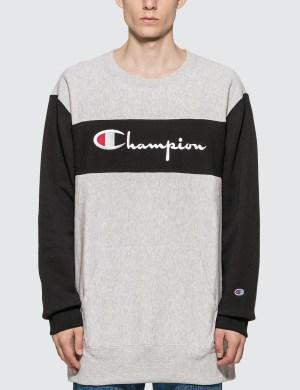 Champion Reverse Weave Color Block Crewneck Sweatshirt