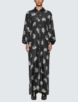 Lanvin Logo Print Long Dress