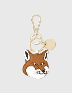 Maison Kitsune Fox Head Leather Keyring