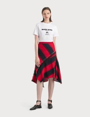 KOCH Stripy Asymmetrical Midi Skirt
