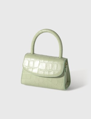 BY FAR Mini Sage Green Croco Embossed Leather Bag