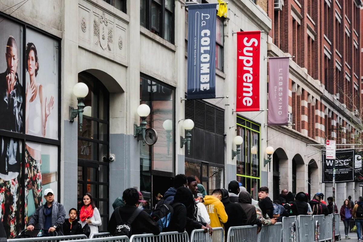 Supreme Banner Box Logo New York City NYC Red White Lafayette Street