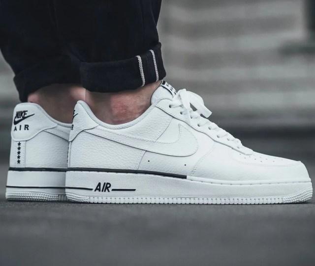 Nike Air Force 1 07 Premium Low White Black Leather Stars