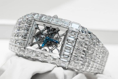 Floyd Mayweather 18 eighteen million usd The Billionaire Watch Jacob & Co white gold diamond encrusted jeweler Tadashi Fukushima timepiece emerald cut baguette