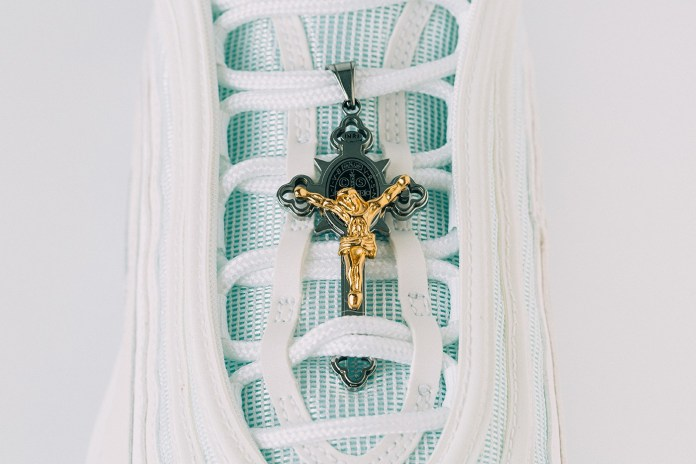 """MSCHF x INRI Nike Air Max 97 """"Jesus Shoes"""" Release Information Closer Look Walk on Water Biblical References Pope Crucifix Limited Edition How to Cop Buy Sneakers Footwear Customized Customs Rare"""