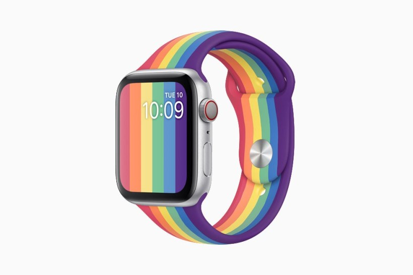 Apple Watch Pride Edition Sport Band Release Rainbow LGBTQ Pride Month GLSEN Polka Dots Perforations Watch Face Nike