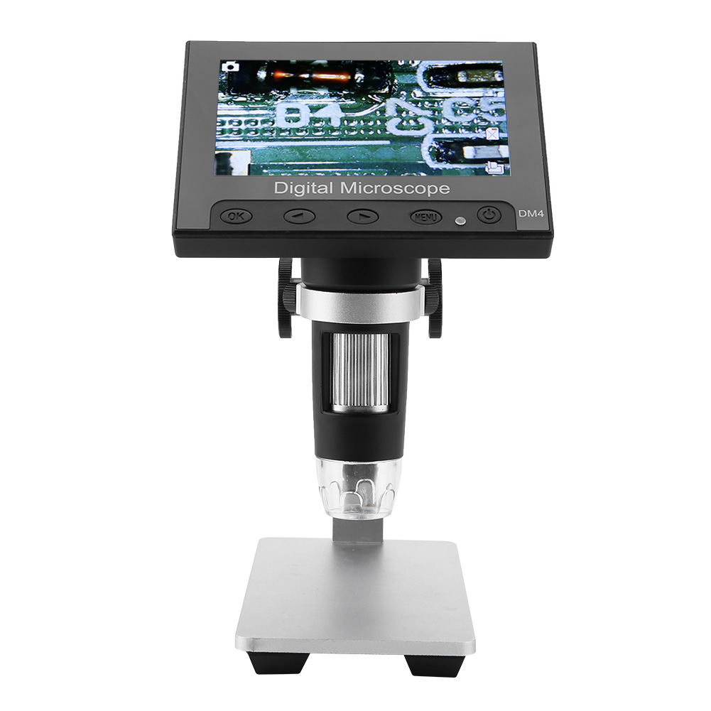 Digital microscope which can magnify 1x ~ 1000x. DM4 2MP 500/1000X 8 LEDs Digital Electronic Microscope 4.3 ...