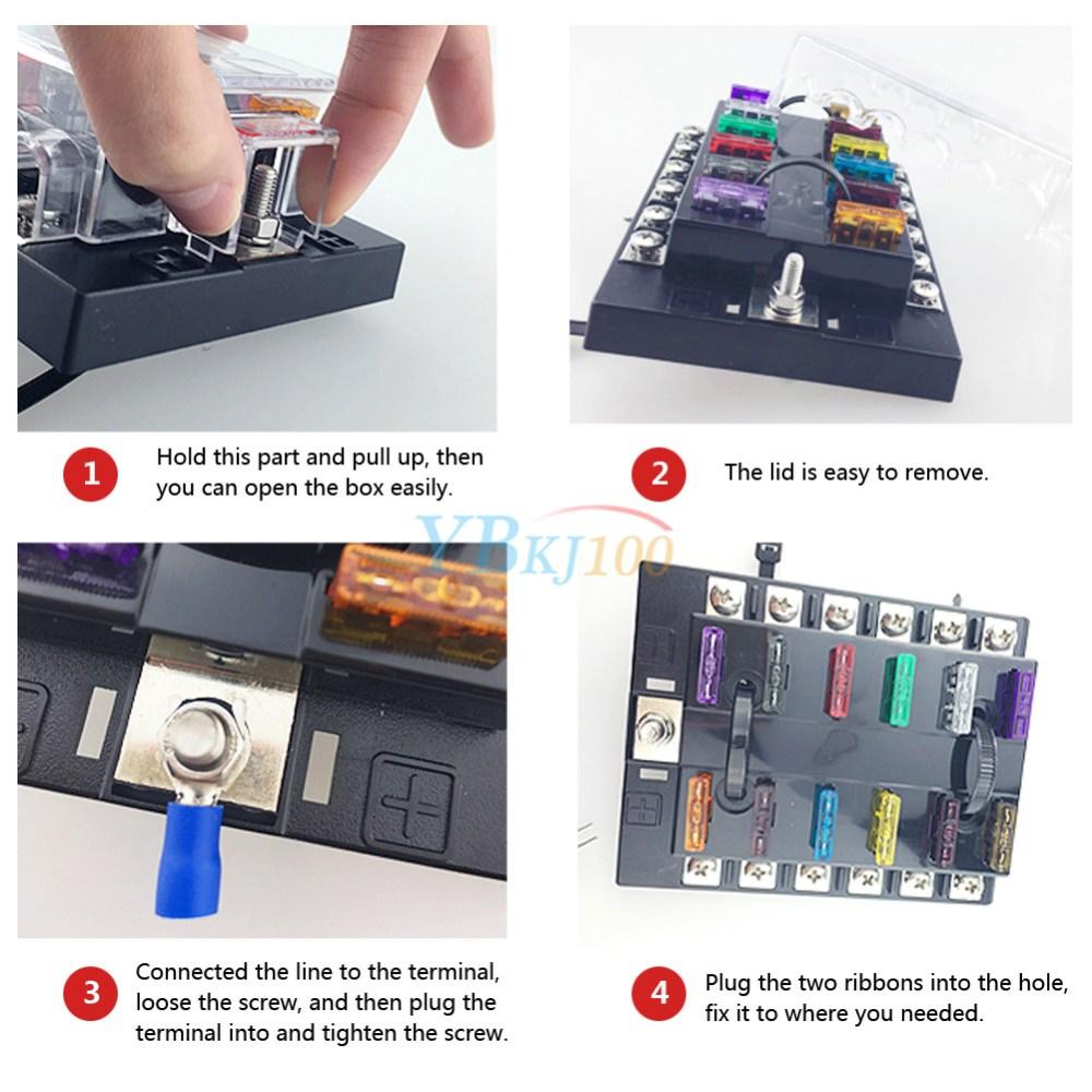 medium resolution of 10 way car vehicle blade fuse box block holder with led light atc ato circuit js