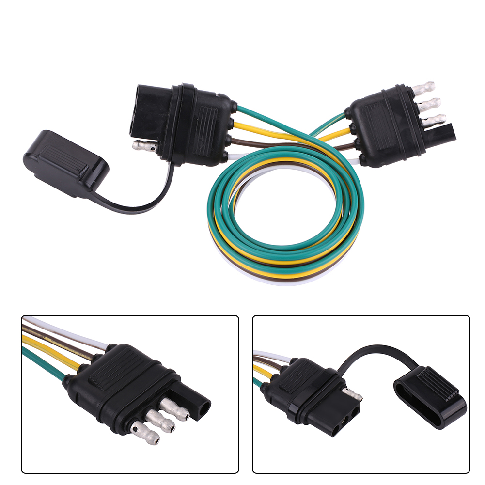 hight resolution of details about 6 12 24v 4 pin flat pvc trailer light plug wire harness connector for caravan af