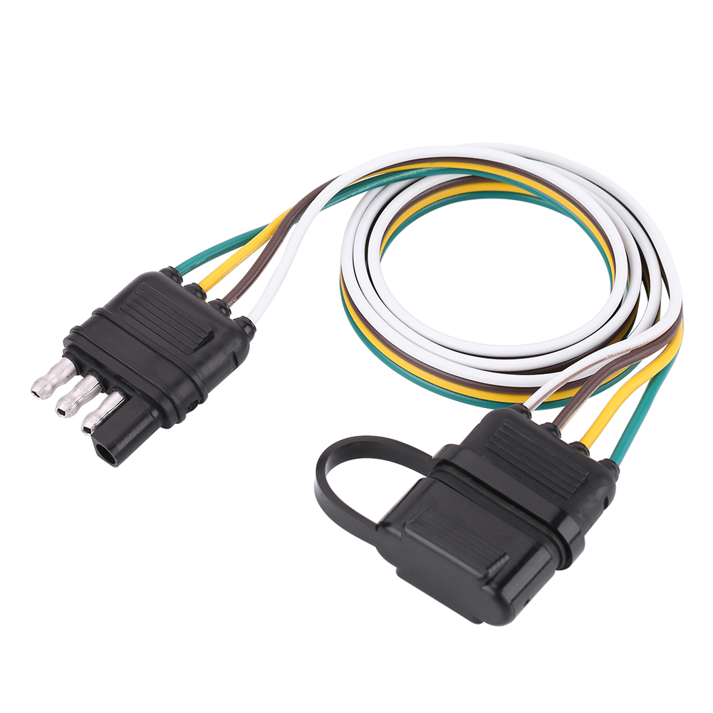 hight resolution of details about american trailer wiring harness plug 6v 12v 24v 4 pin flat wire connector black