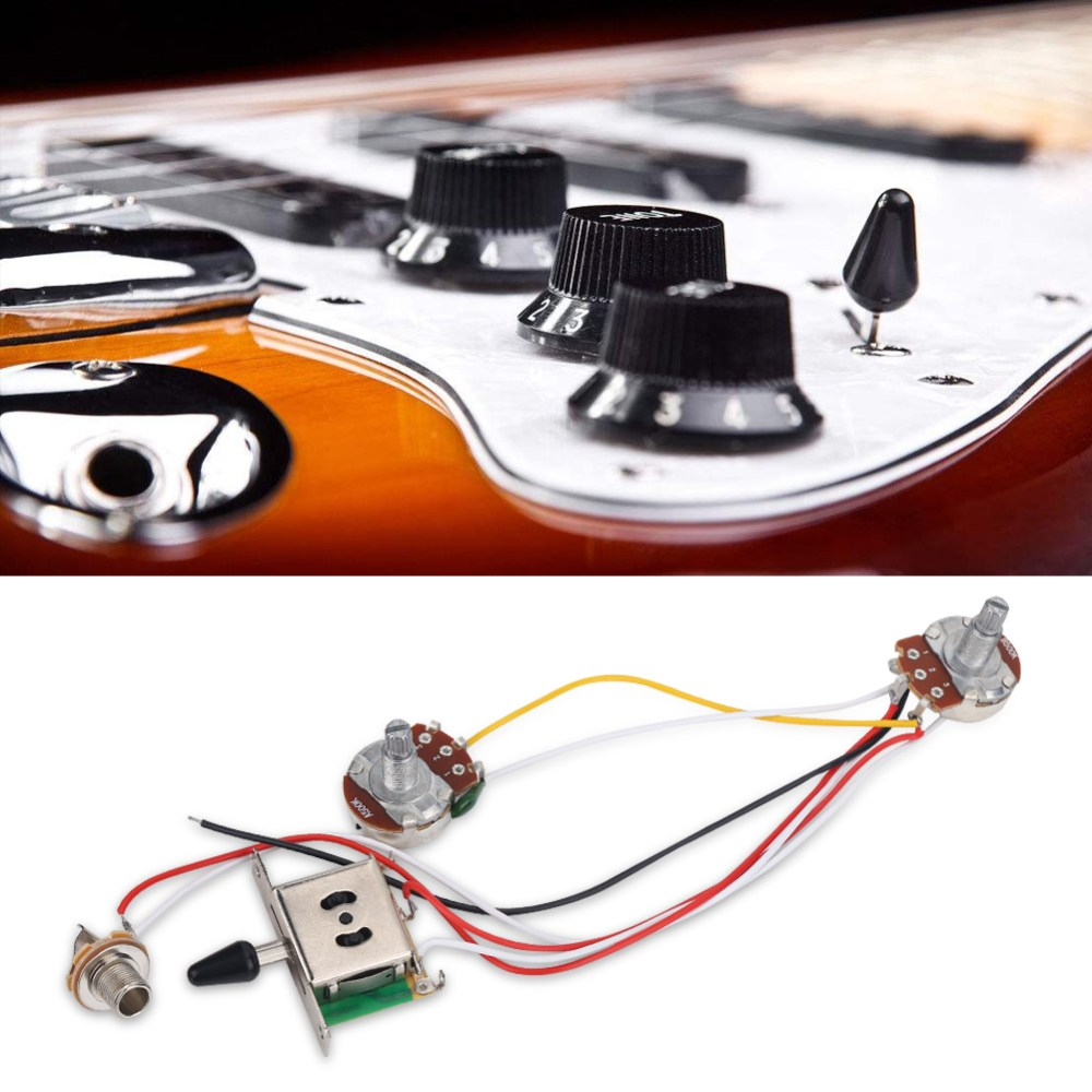 medium resolution of electric guitar wiring harness kit set 3 way toggle switch 1 volume 1 tone 500k