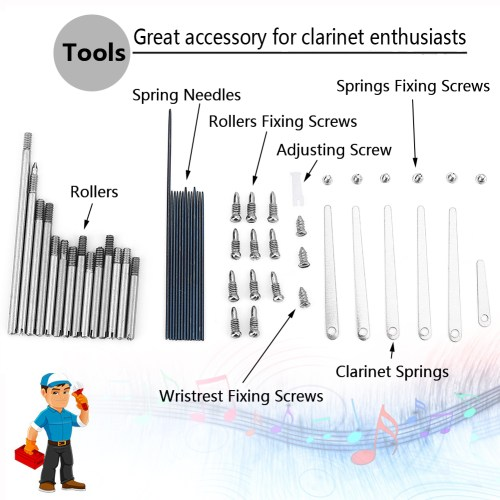 small resolution of 1 set of clarinet repair screw parts 7 maintenance tools for woodwind clarinet