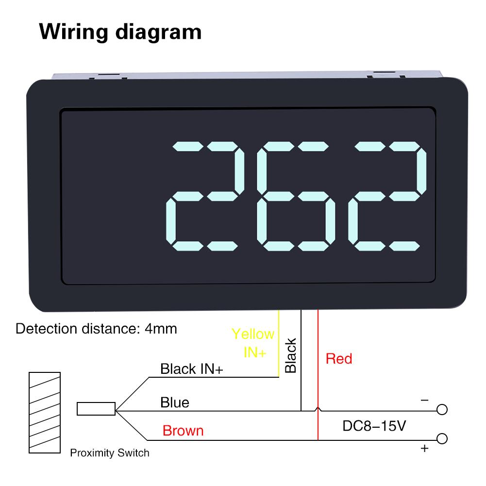 hight resolution of 12v digital led tachometer rpm speed meter hall switch sensor npn green stw