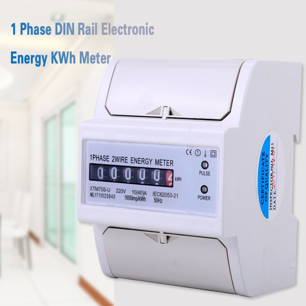 medium resolution of 1pcs 220v 1 phase 2 wire din rail electronic energy kwh meter 50hz 10 40 a is