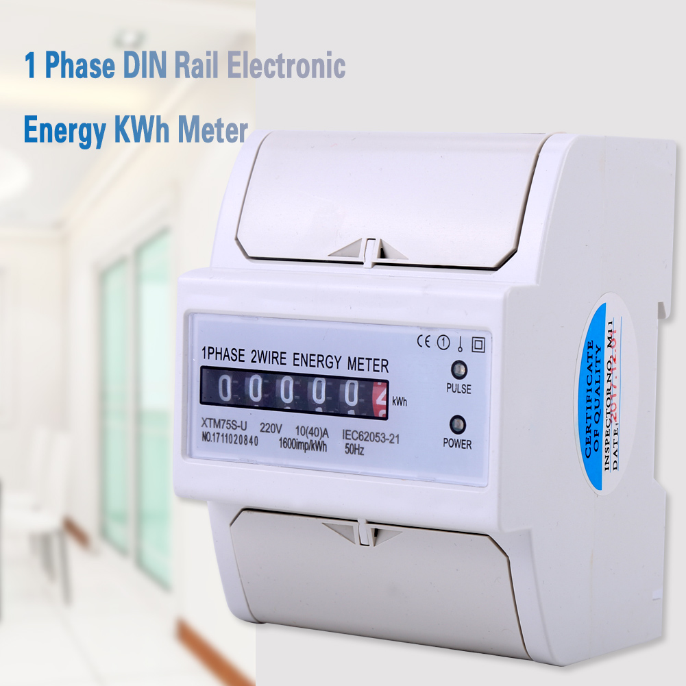 hight resolution of 1pcs 220v 1 phase 2 wire din rail electronic energy kwh meter 50hz 10 40 a is