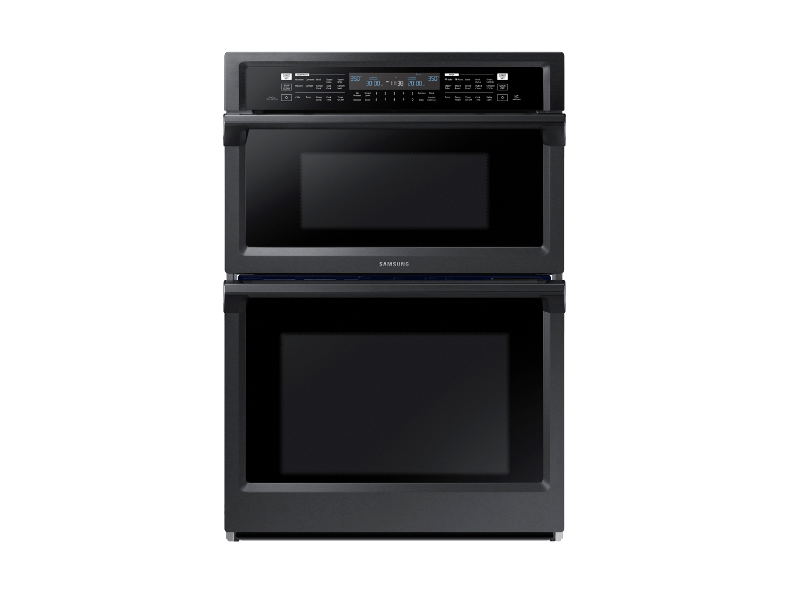 30 smart microwave combination wall oven with steam cook in black stainless steel