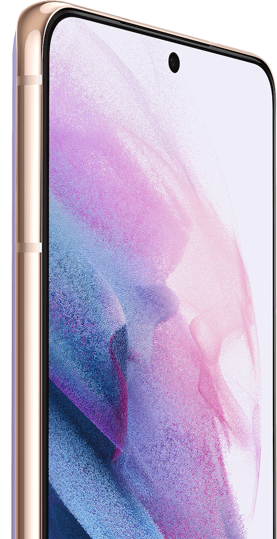 Two Galaxy S21 Plus 5G phones in Phantom Violet, one seen from the front and one from the rear. The one seen from the front has a violet graphic wallpaper onscreen and a callout for the 10MP Selfie Camera.