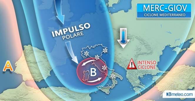 Meteo Italia: ciclone mediterraneo tra mercoledì e giovedì