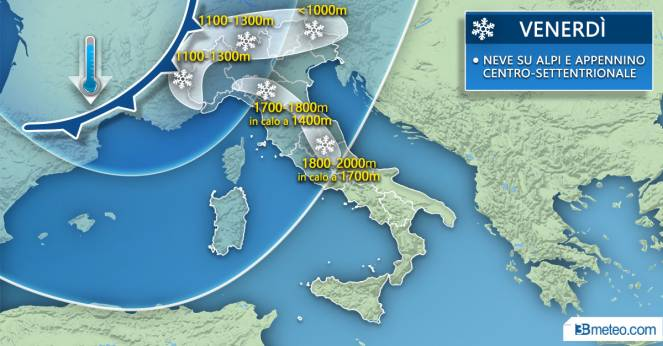 Weather in Italy: snow focus on Friday
