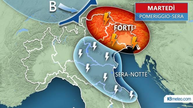 Meteo Italia: la situazione attesa martedì