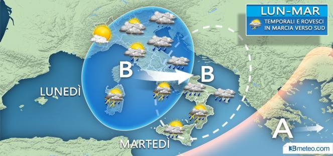Meteo Italia: maltempo anche in avvio di settimana