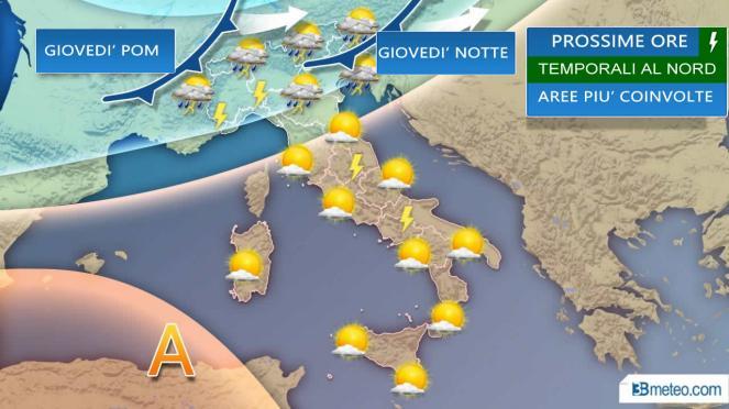 Meteo Italia: temporali prossime ore