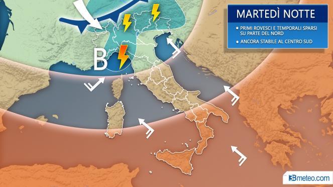 Meteo previsioni grafiche per martedì