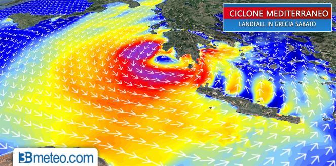 Sabato il ciclone mediterraneo raggiunge la Grecia