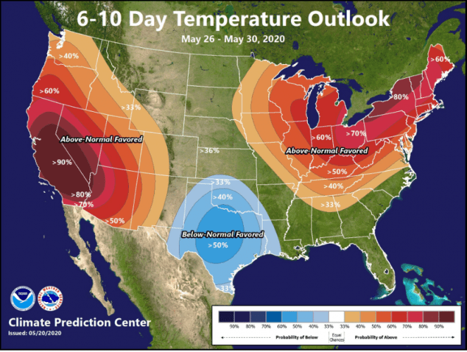 Temperatures predicted by the Climate Prediction Center (USA).