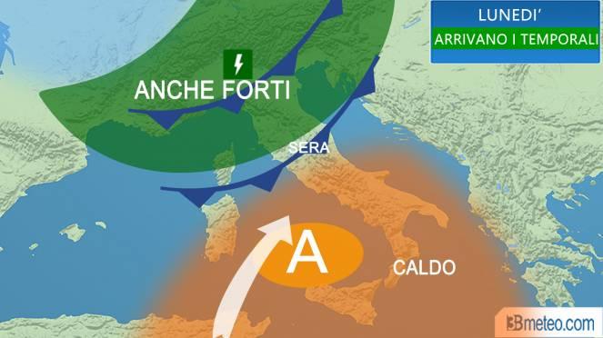 temporali lunedì in Italia