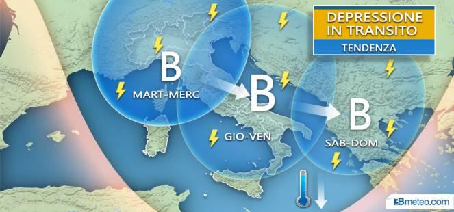 Vortice in transito con piogge e temporali da Nord a Sud