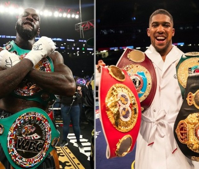 Deontay Wilder Left Holds The Wbc Heavyweight Championship Belt Anthony Joshua Holds The