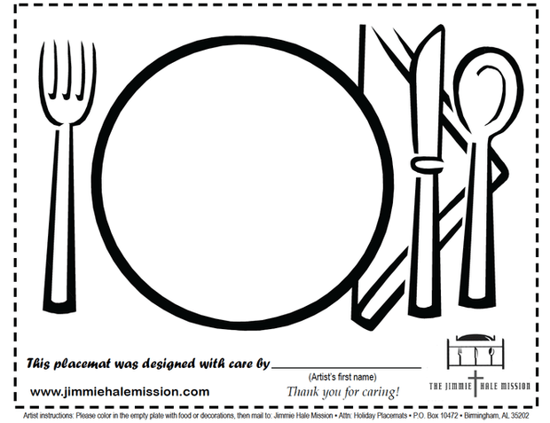 Jimmie Hale Project Placemats: Download, Color & Mail-in