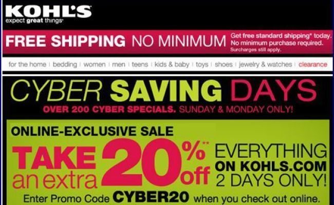Cyber Monday 2011 Kohl S 20 Off Code Free Shipping No