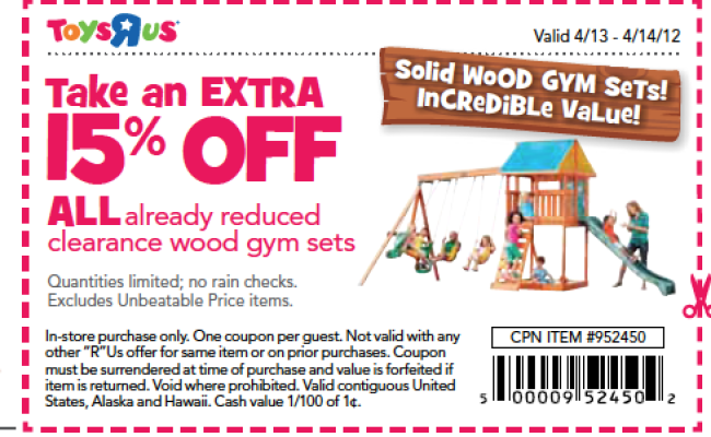 Toys R Us 15 Off Coupon Good On All Clearance Wood Gym