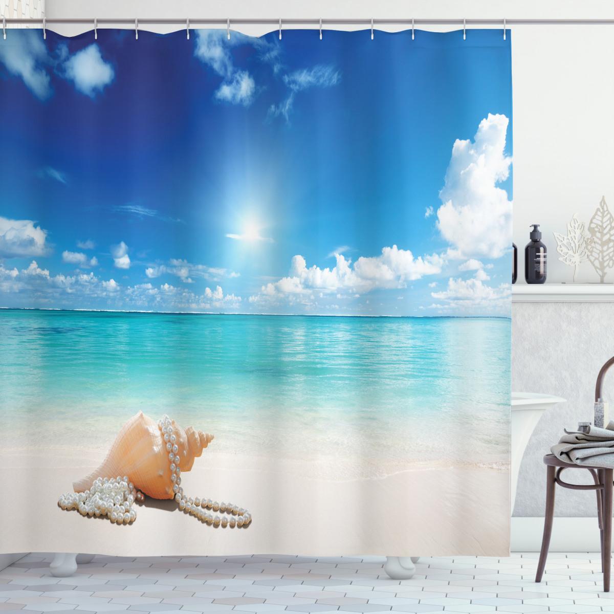 seashells tropical beach shower curtain