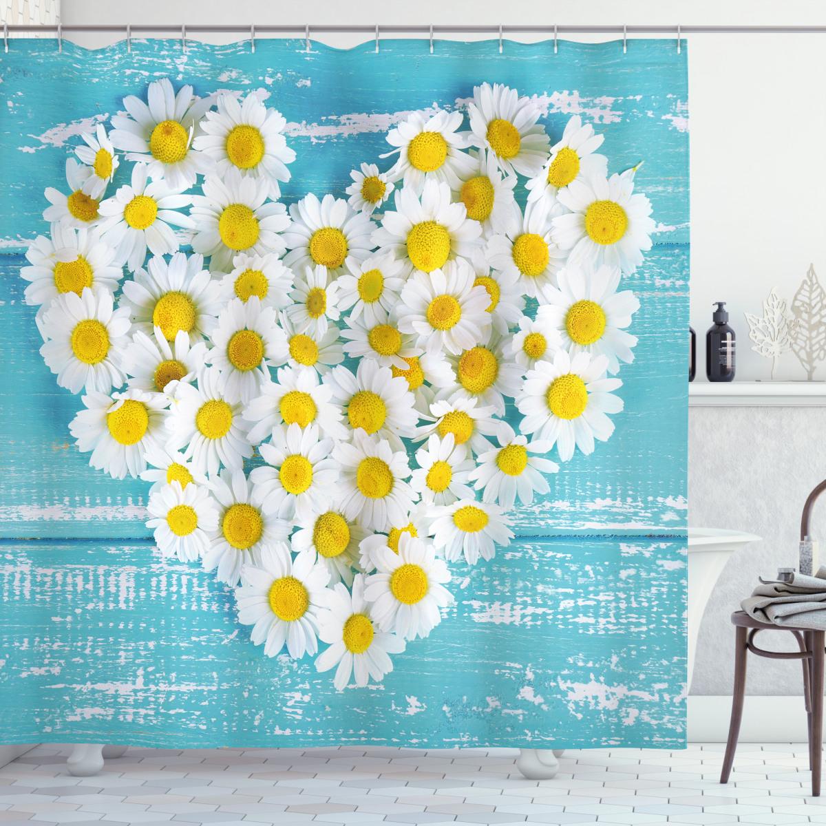 heart shaped daisy shower curtain