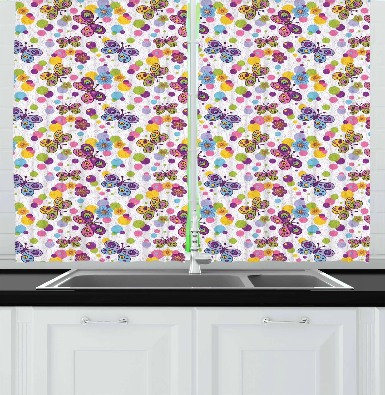 Butterfly Kitchen Curtains 2 Panel Set Window Drapes 55 X