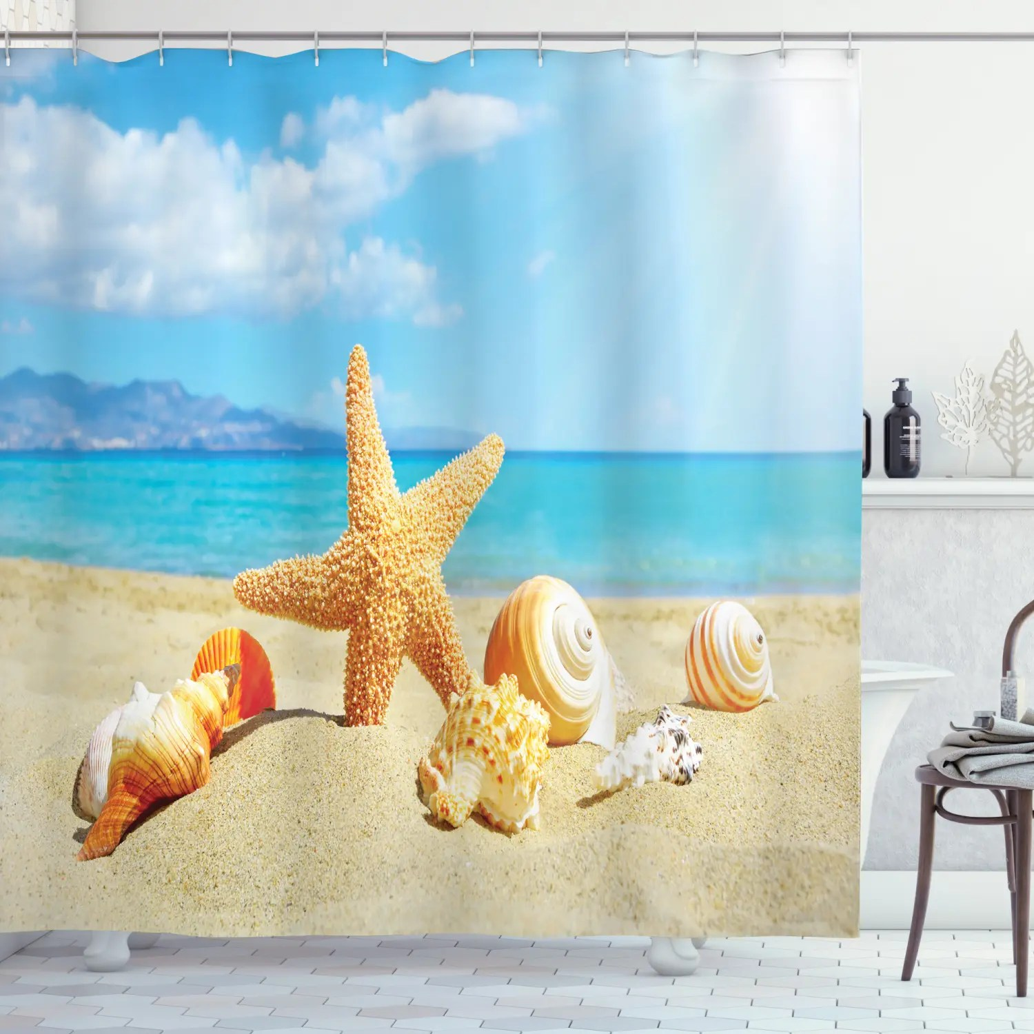 details about beach theme sand starfish and seashell sandy shore home decor shower curtain set
