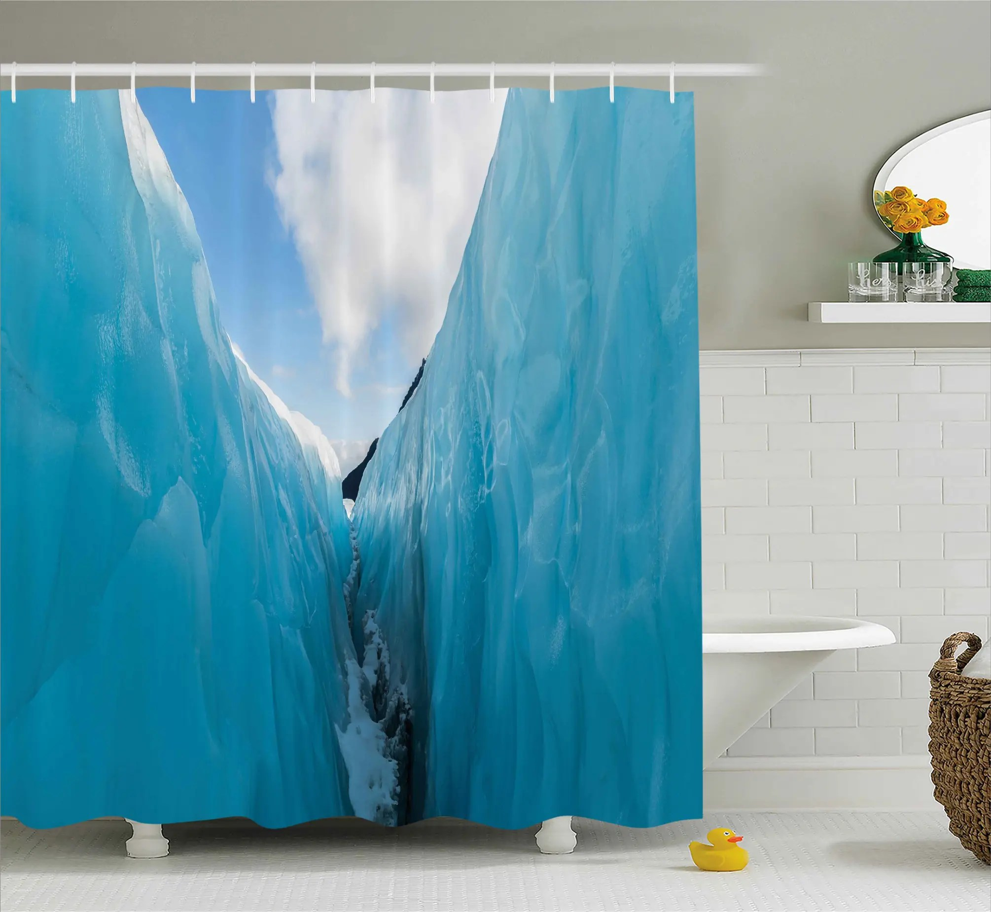 Frozen Bathroom Frozen Ice Mountains Shower Curtain