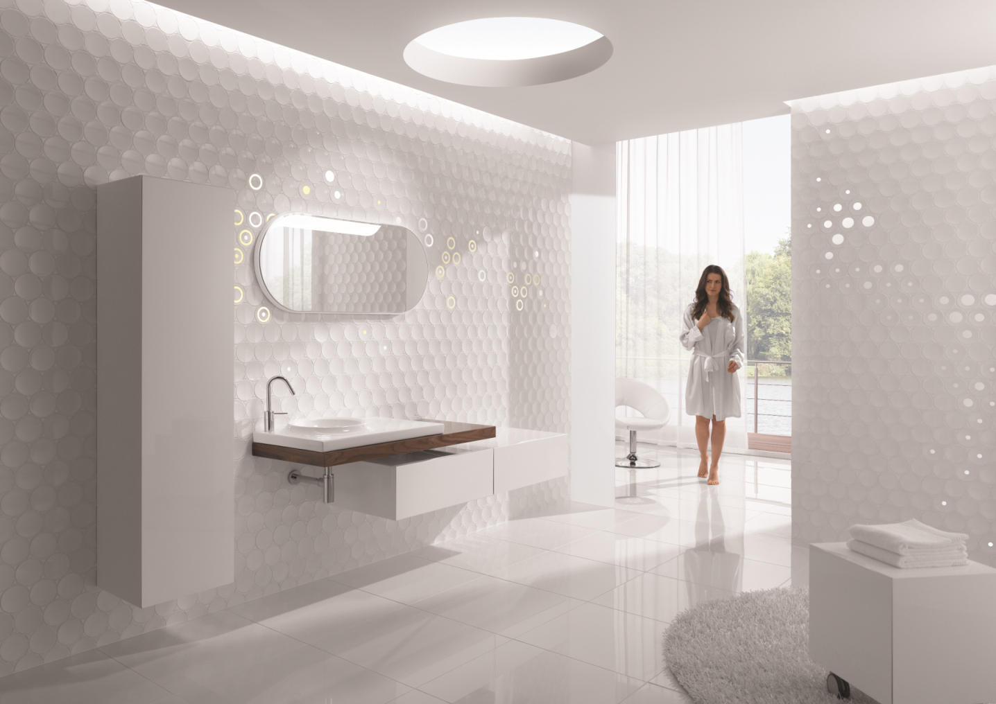 dot white ceramic tiles from kale