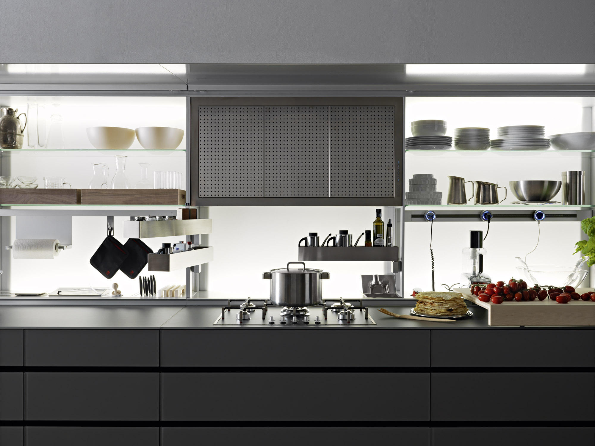NEW LOGICA SYSTEM VITRUM  CEMENTO  Fitted kitchens from Valcucine  Architonic