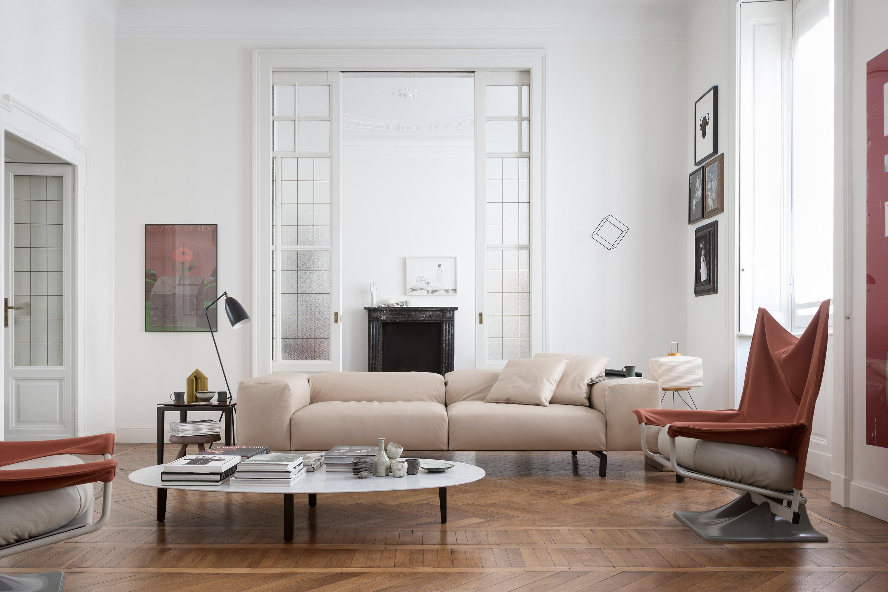 oval sofa living room brown leather 204 02 scighera two seater sofas from cassina architonic by
