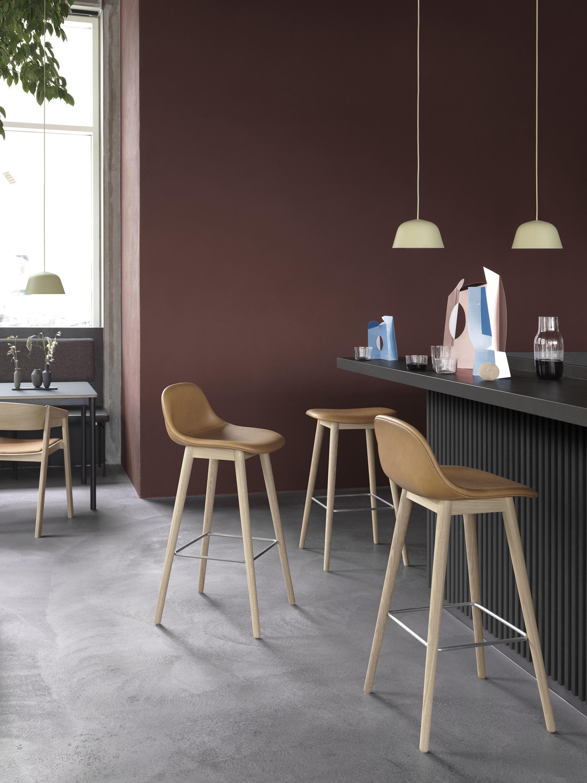 FIBER BAR STOOL  WOOD BASE  COGNAC LEATHER  Bar stools