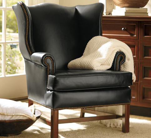 leather wingback chairs green high chair thatcher armchairs from distributed by williams sonoma inc to the trade