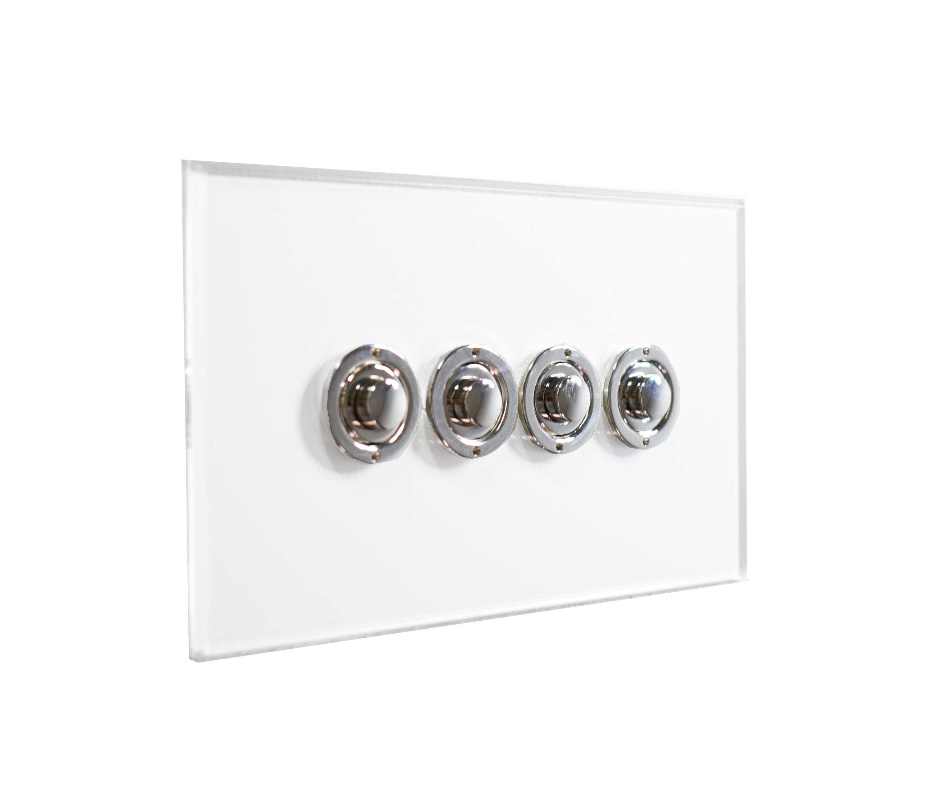 Invisible Lightswitch With Four Gang Nickel Button Dimmer