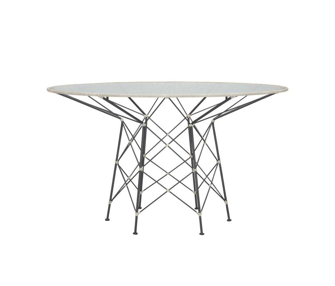 Whisk Rattan Glass Top Dining Table Round 130