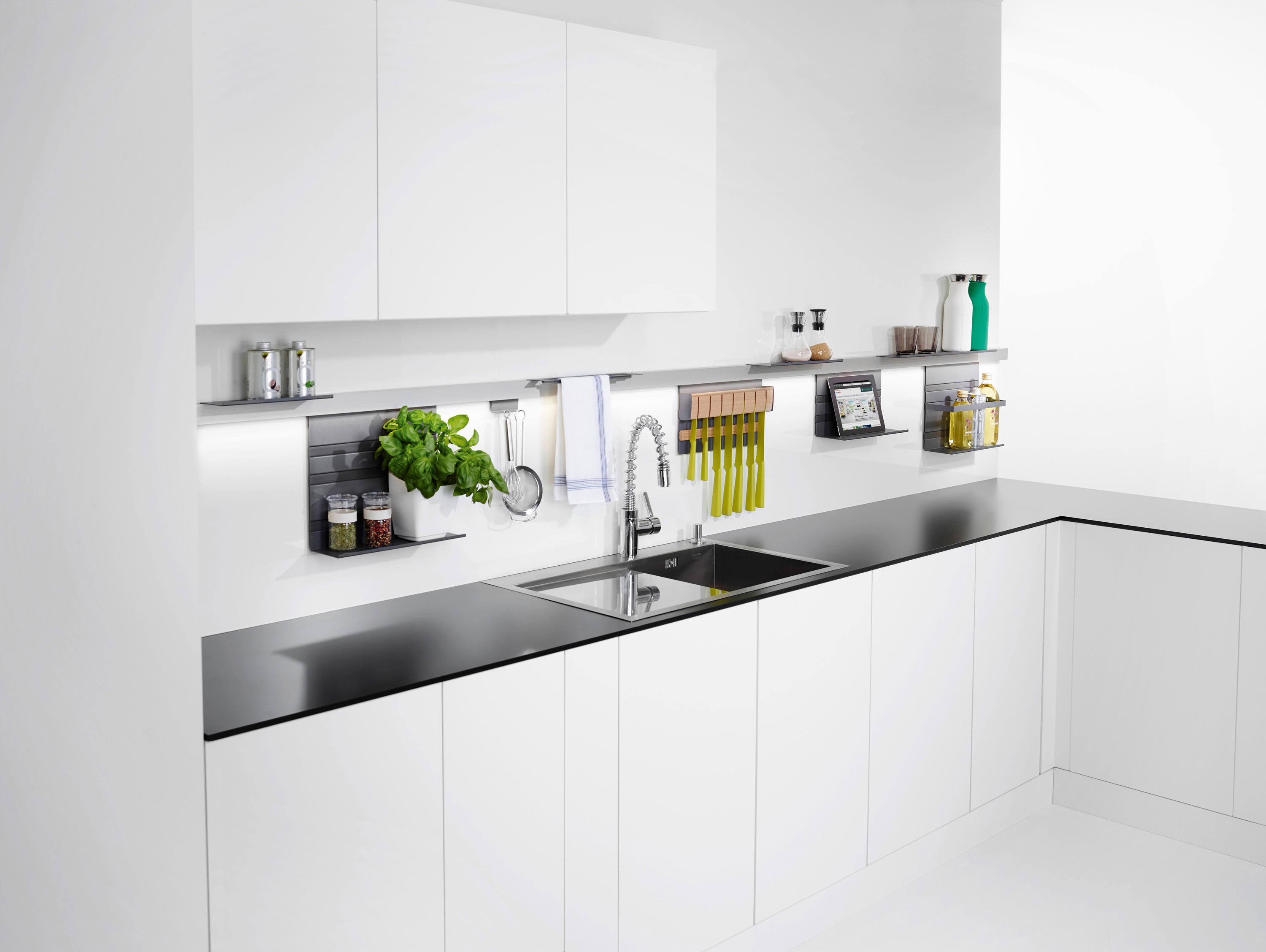 kitchen rail system stainless steel appliance package linero mosaiq organization from peka by